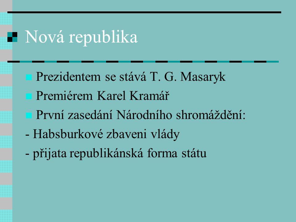Nová republika Prezidentem se stává T. G. Masaryk