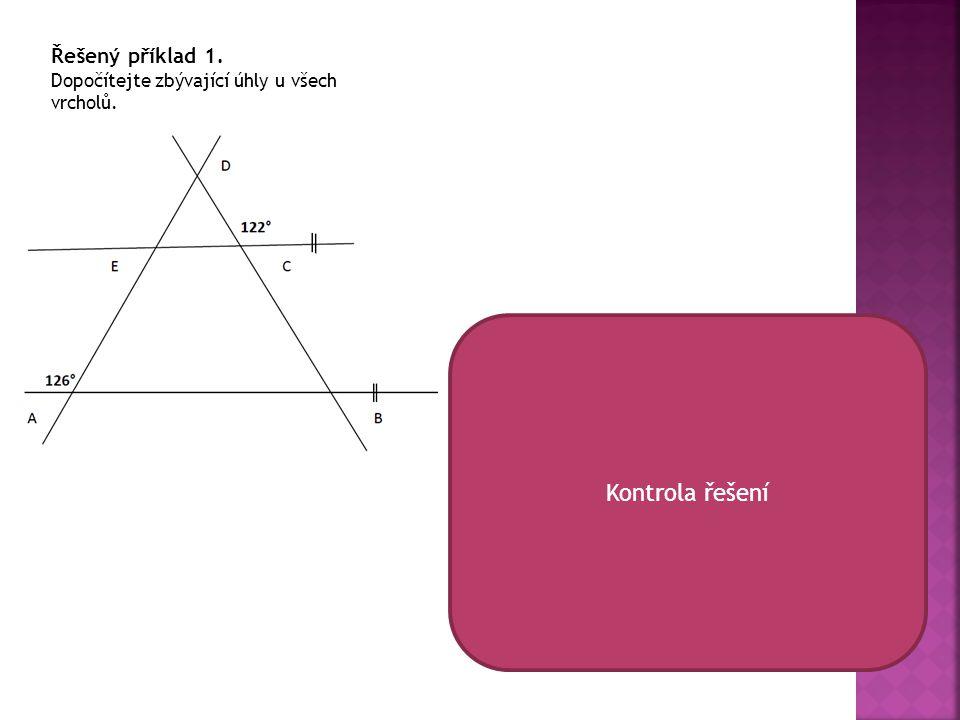 Kontrola řešení Řešený příklad 1.