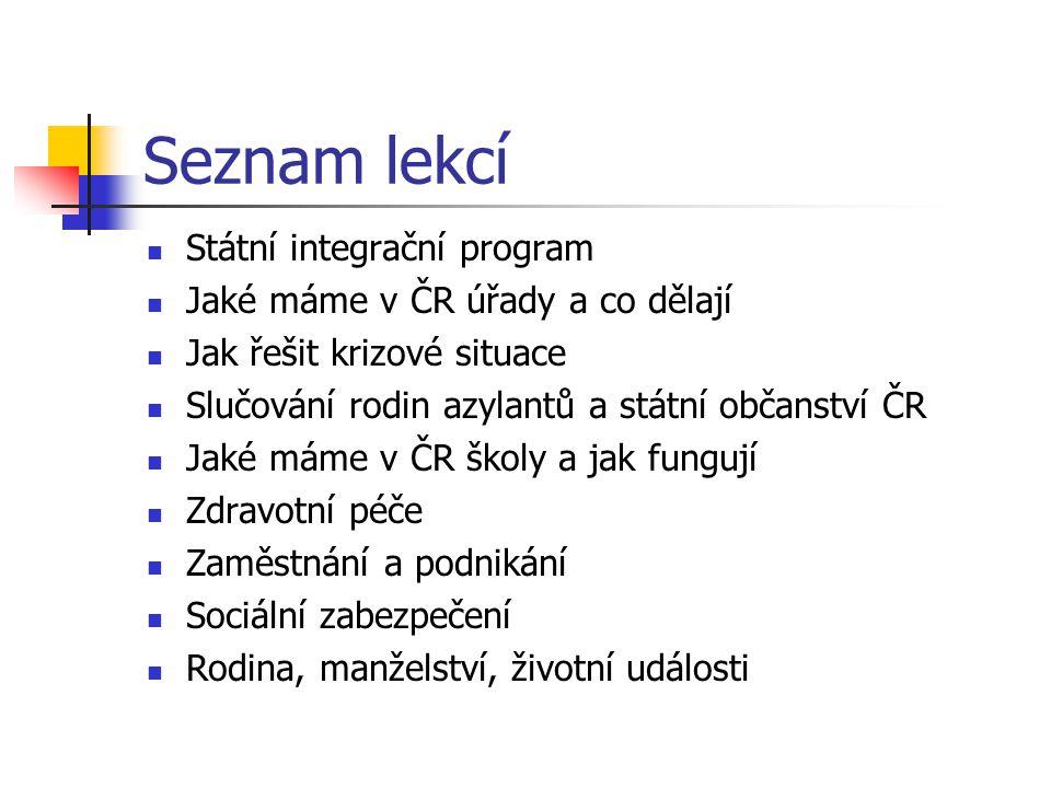Seznam lekcí Státní integrační program