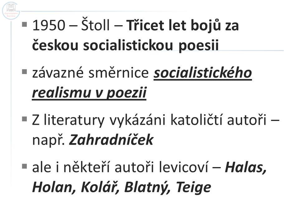 1950 – Štoll – Třicet let bojů za českou socialistickou poesii