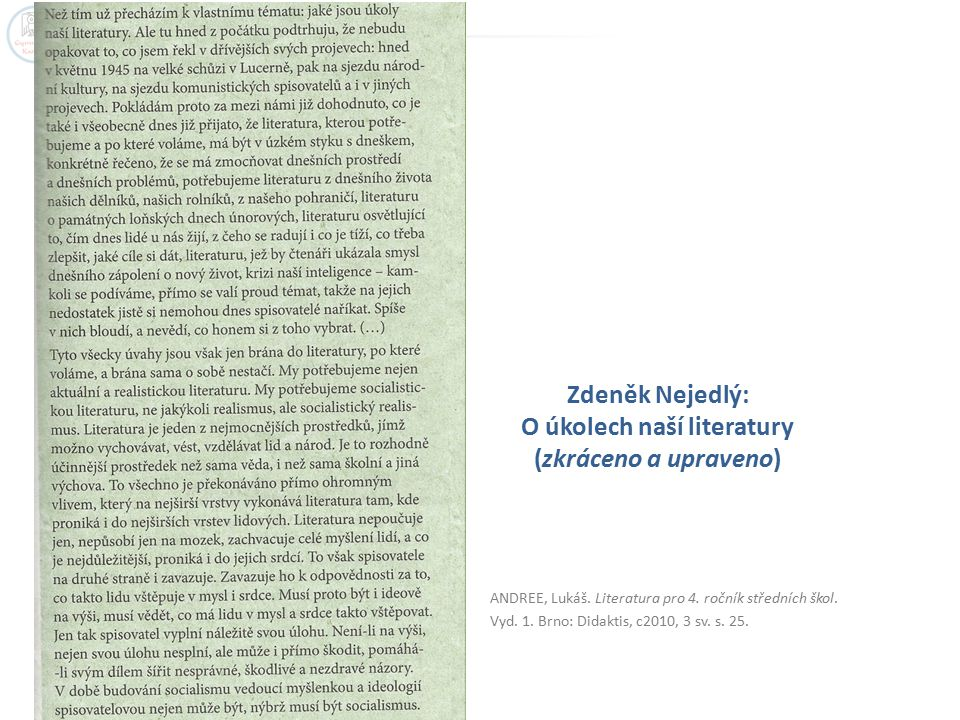 Zdeněk Nejedlý: O úkolech naší literatury (zkráceno a upraveno)