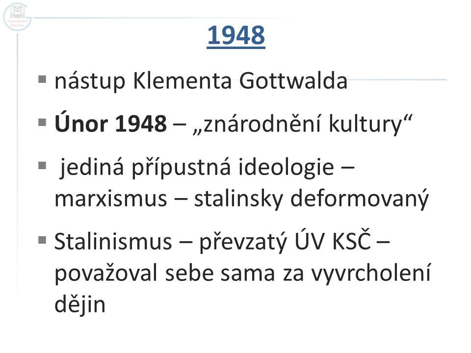 """1948 nástup Klementa Gottwalda Únor 1948 – """"znárodnění kultury"""