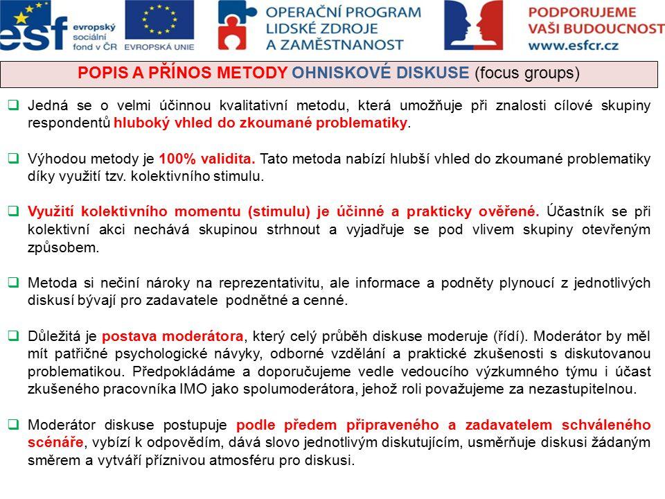 POPIS A PŘÍNOS METODY OHNISKOVÉ DISKUSE (focus groups)