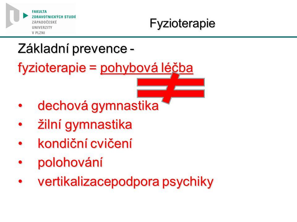 fyzioterapie = pohybová léčba dechová gymnastika žilní gymnastika