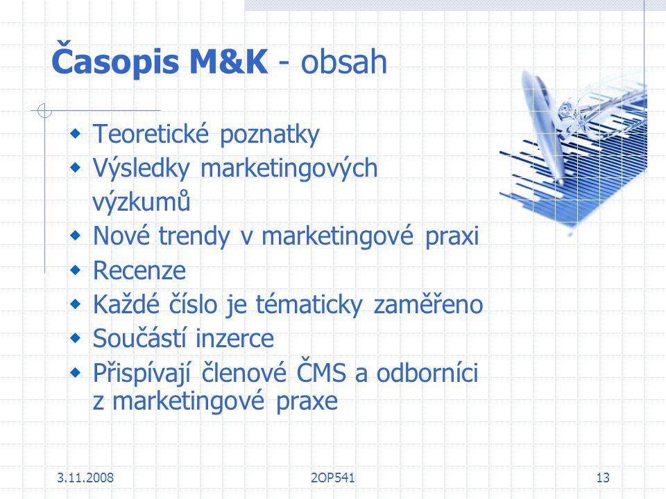 Časopis M&K - obsah Teoretické poznatky Výsledky marketingových
