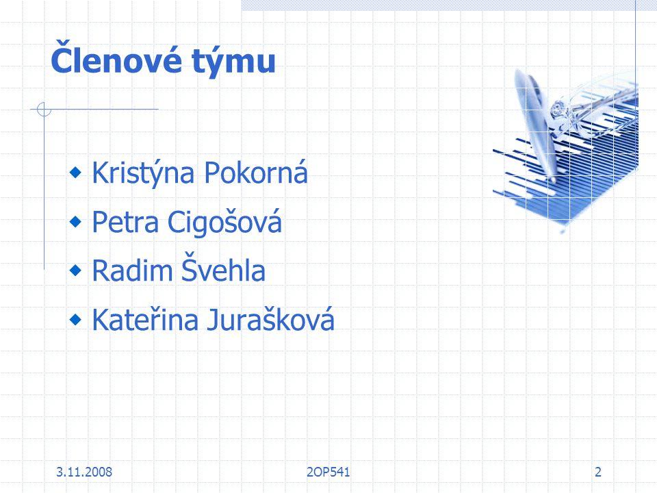 Členové týmu Kristýna Pokorná Petra Cigošová Radim Švehla