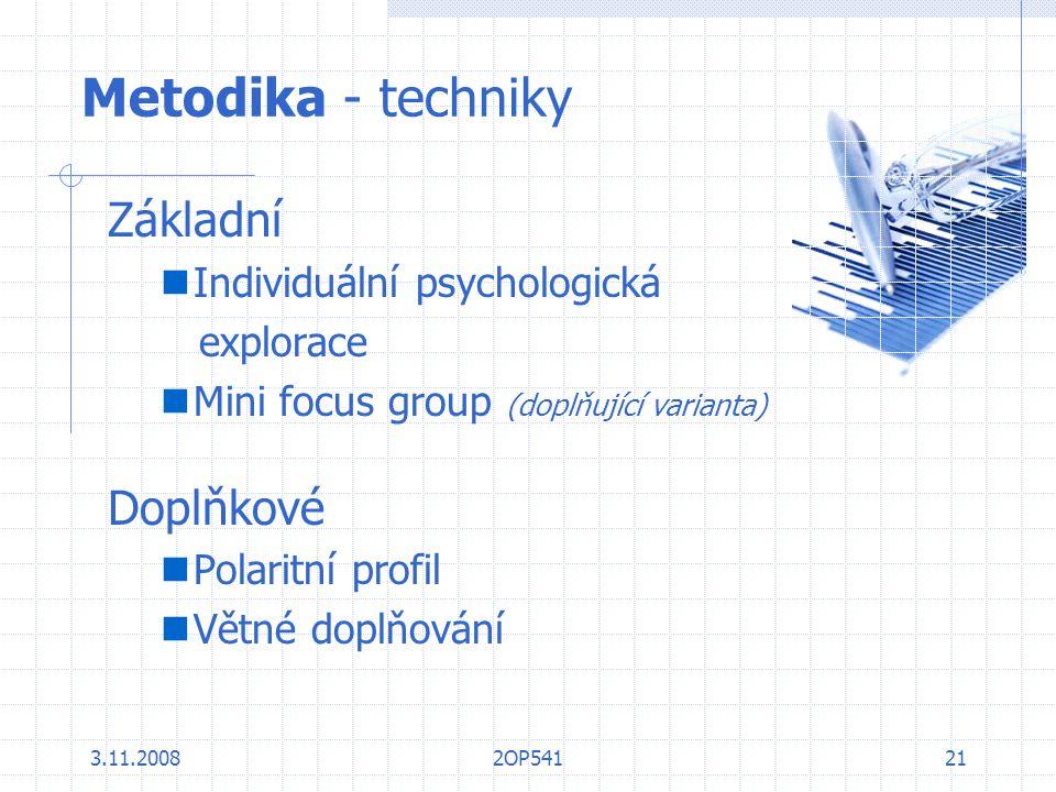 Metodika - techniky Základní Doplňkové Individuální psychologická