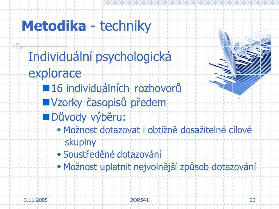 Metodika - techniky Individuální psychologická explorace