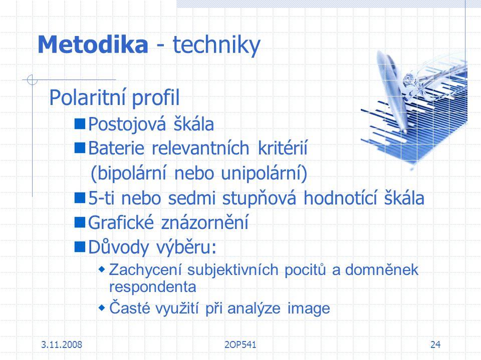 Metodika - techniky Polaritní profil Postojová škála