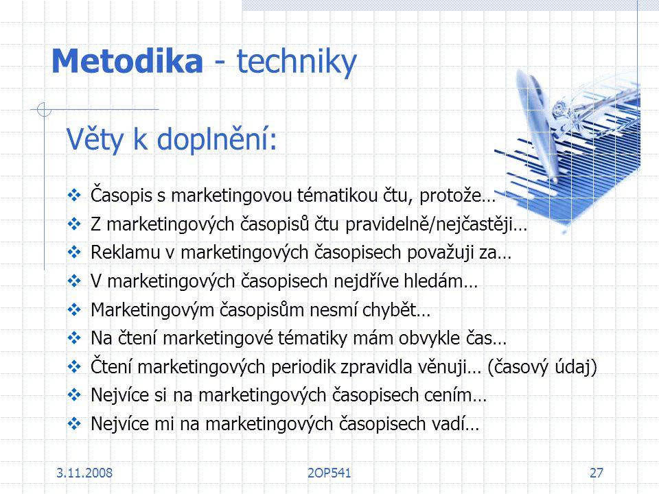 Metodika - techniky Věty k doplnění: