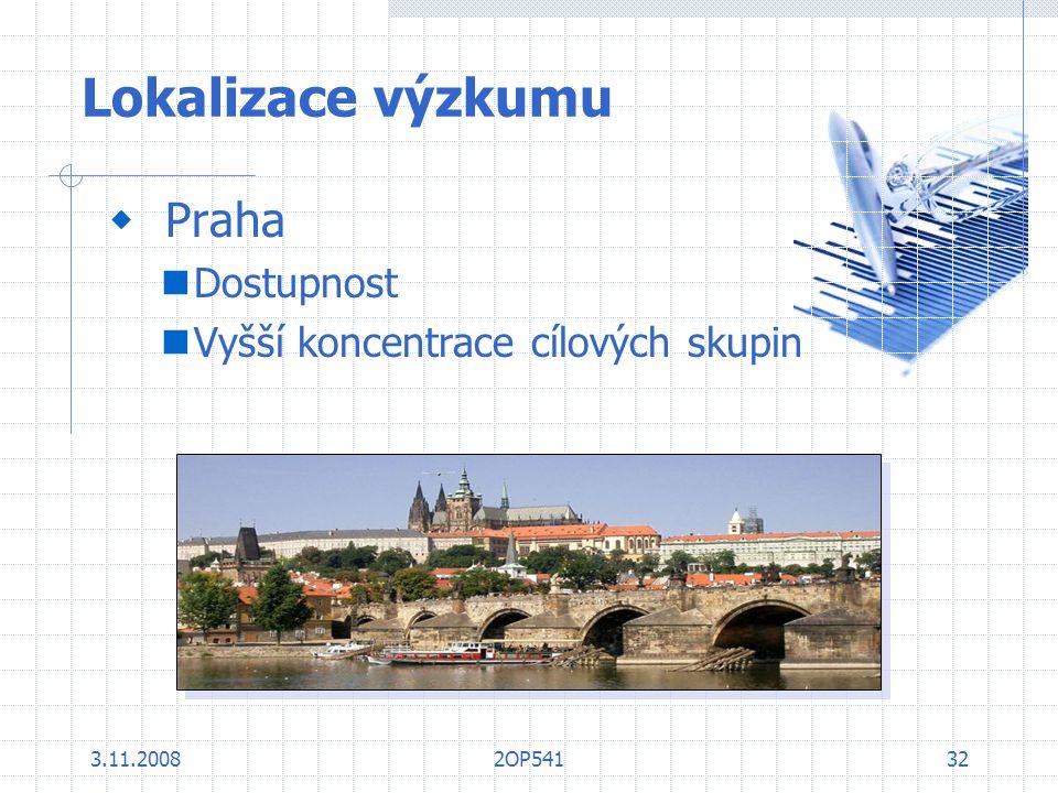 Lokalizace výzkumu Praha Dostupnost Vyšší koncentrace cílových skupin