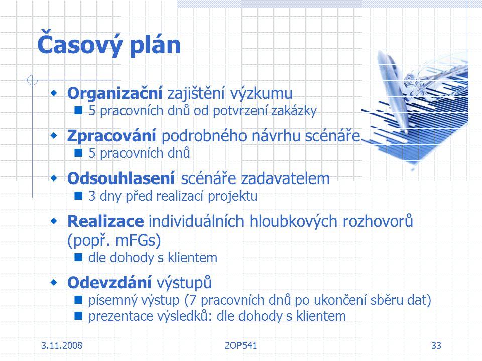 Časový plán Organizační zajištění výzkumu