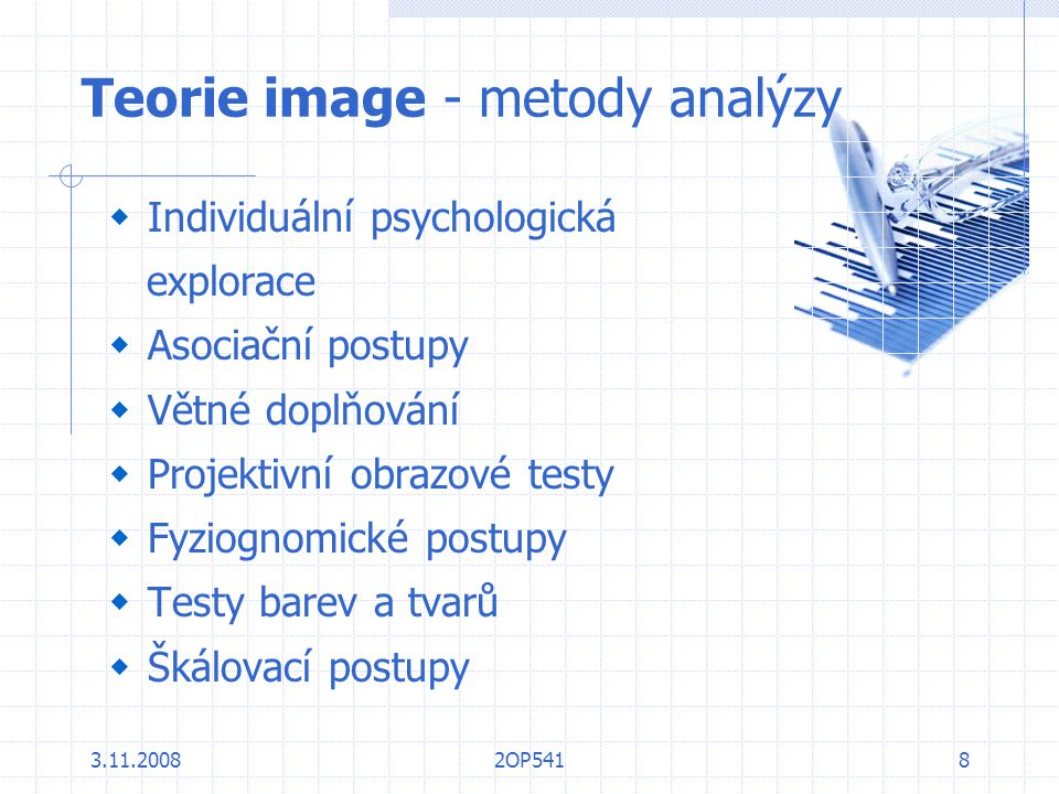 Teorie image - metody analýzy