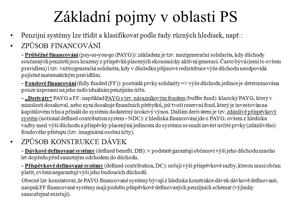 Základní pojmy v oblasti PS