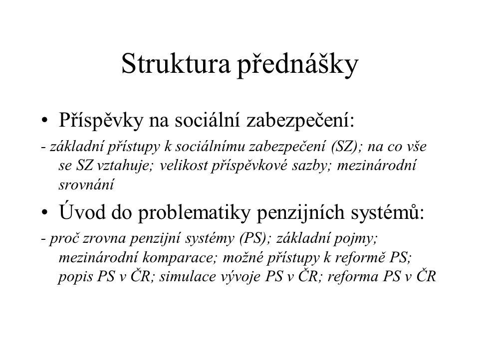 Struktura přednášky Příspěvky na sociální zabezpečení: