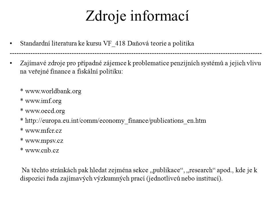 Zdroje informací Standardní literatura ke kursu VF_418 Daňová teorie a politika.