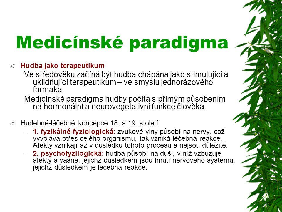 Medicínské paradigma Hudba jako terapeutikum.
