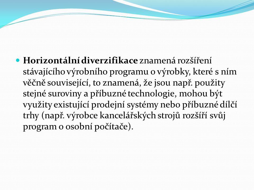 Horizontální diverzifikace znamená rozšíření stávajícího výrobního programu o výrobky, které s ním věčně související, to znamená, že jsou např.