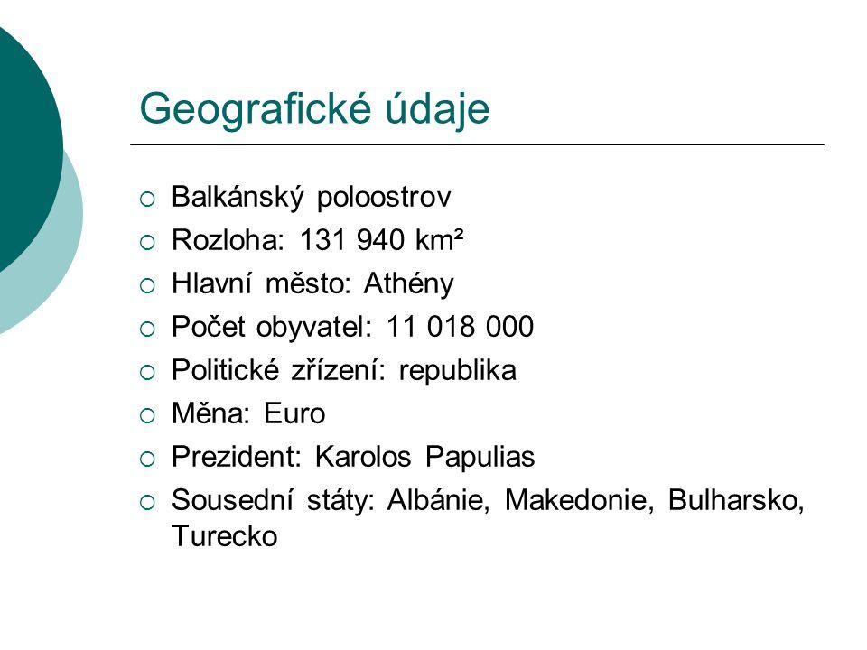 Geografické údaje Balkánský poloostrov Rozloha: 131 940 km²