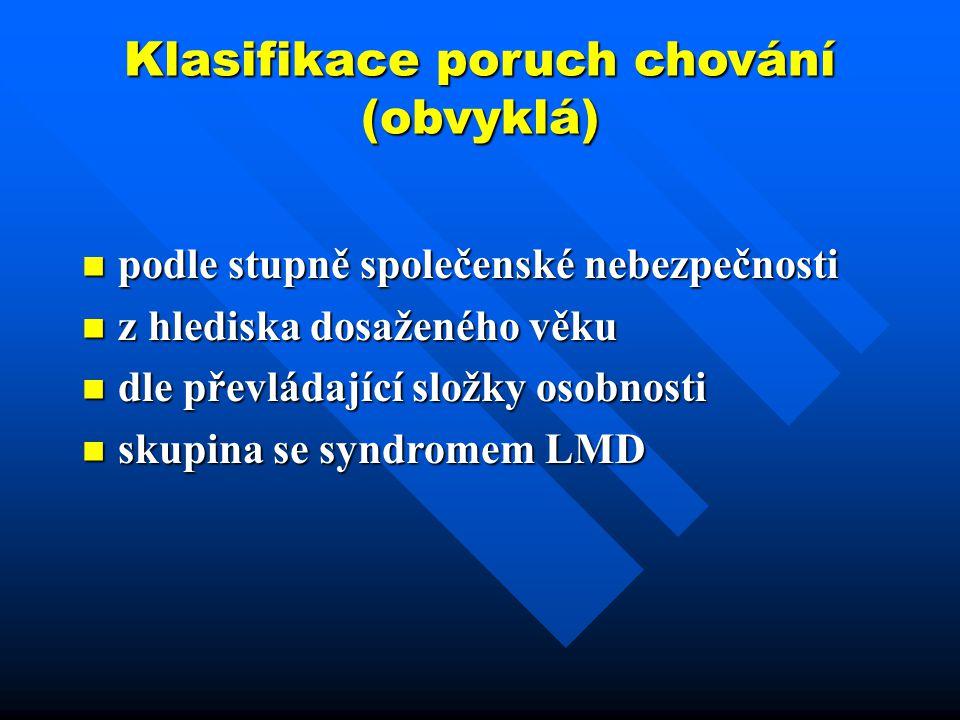 Klasifikace poruch chování (obvyklá)