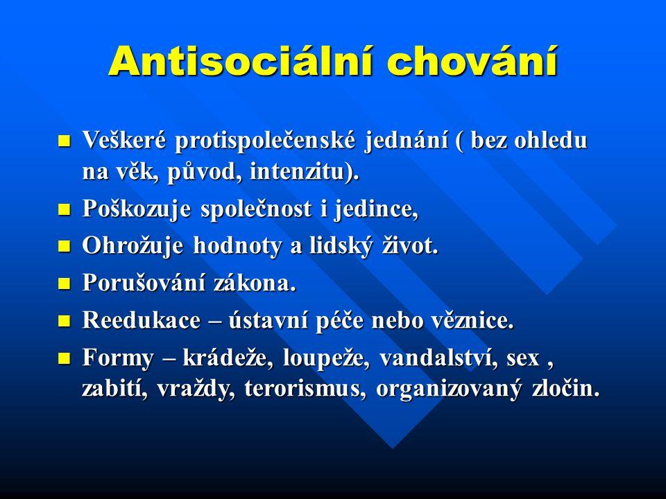 Antisociální chování Veškeré protispolečenské jednání ( bez ohledu na věk, původ, intenzitu). Poškozuje společnost i jedince,