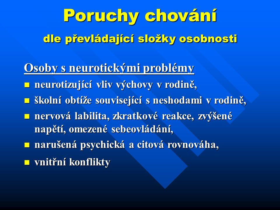 Poruchy chování dle převládající složky osobnosti