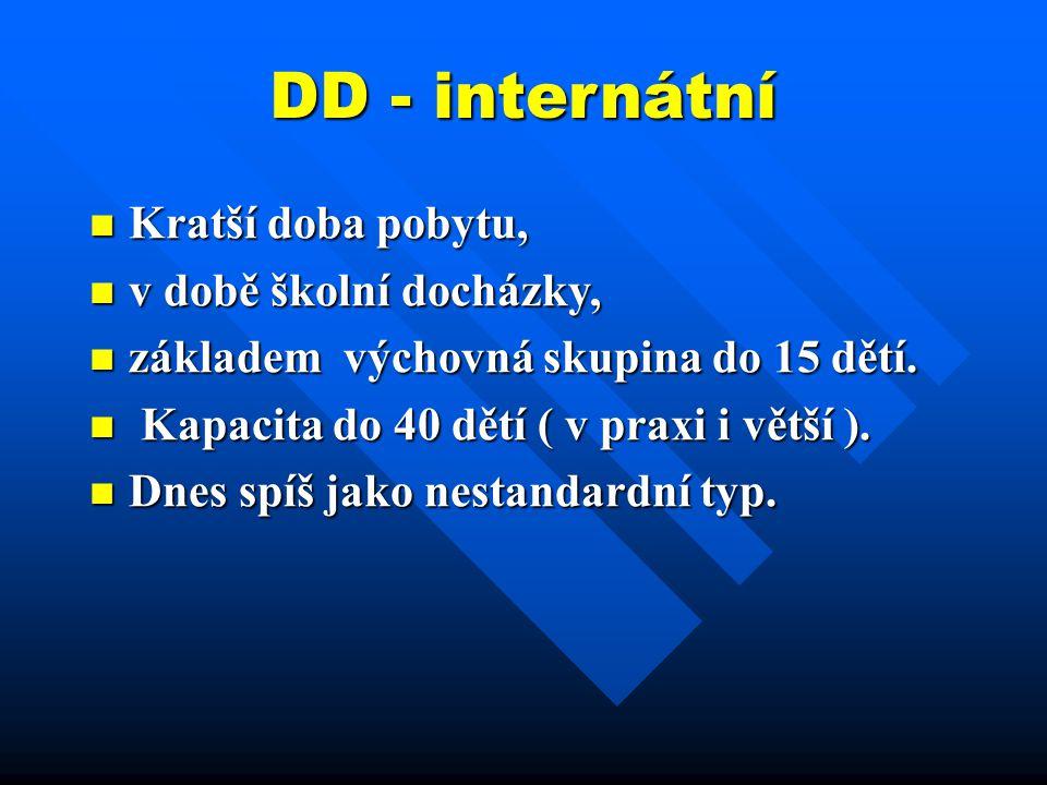 DD - internátní Kratší doba pobytu, v době školní docházky,