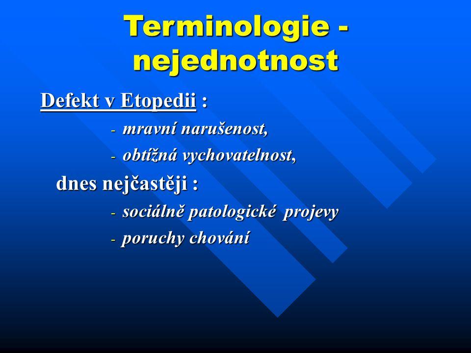 Terminologie - nejednotnost
