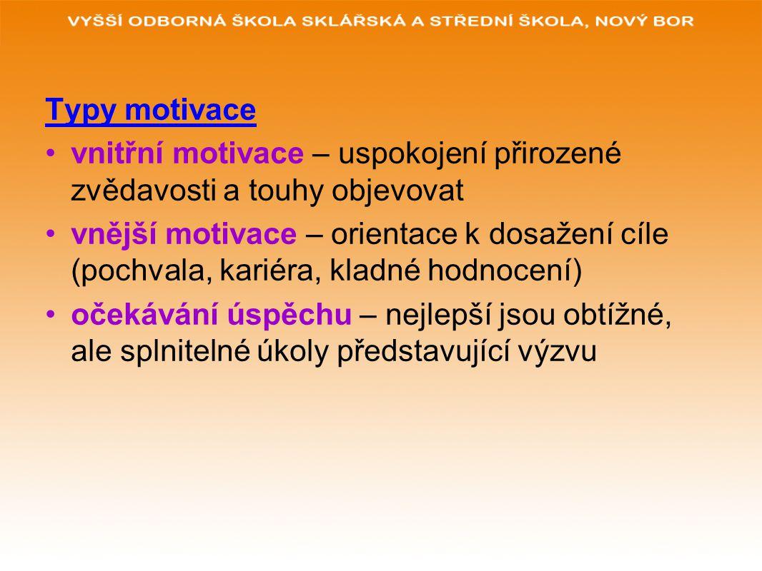 Typy motivace vnitřní motivace – uspokojení přirozené zvědavosti a touhy objevovat.
