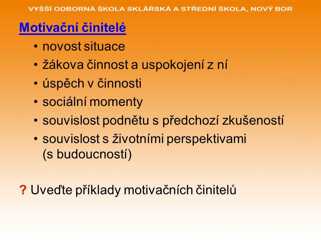 Motivační činitelé novost situace. žákova činnost a uspokojení z ní. úspěch v činnosti. sociální momenty.