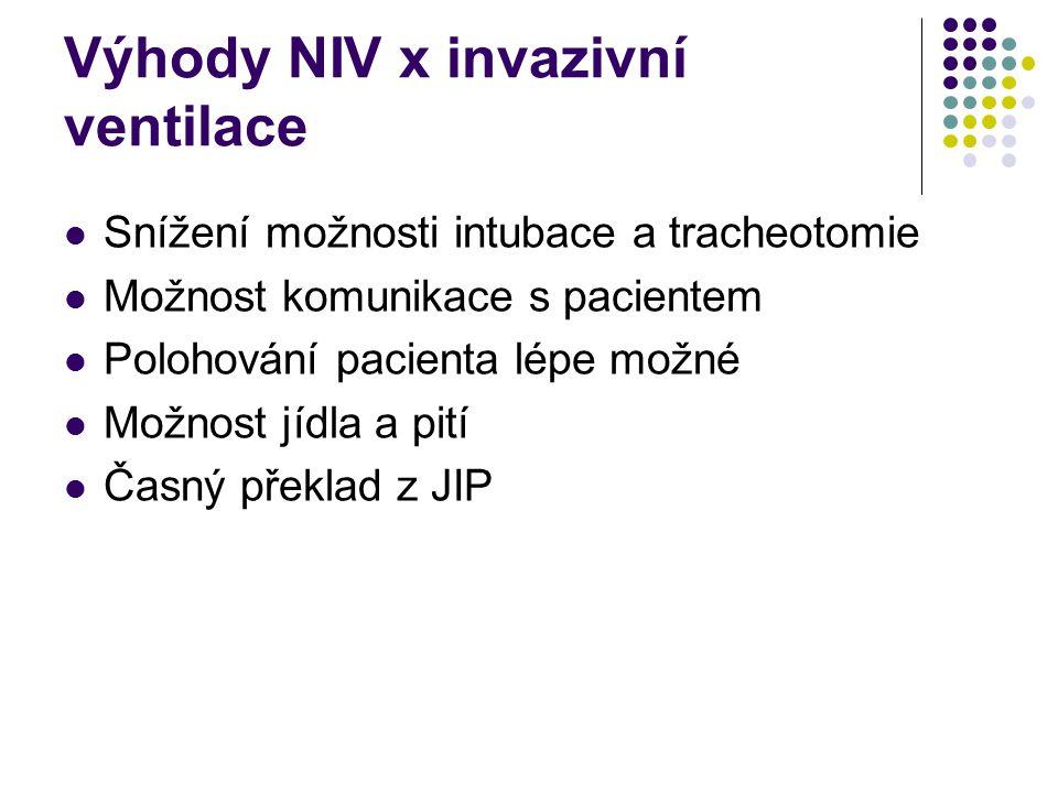 Výhody NIV x invazivní ventilace