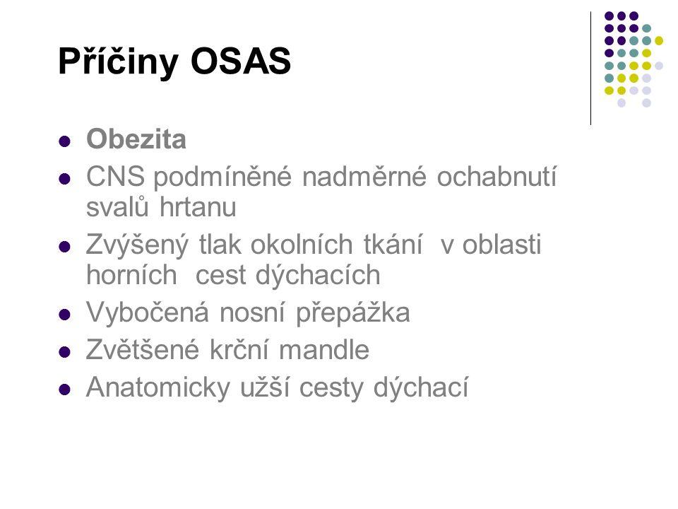 Příčiny OSAS Obezita CNS podmíněné nadměrné ochabnutí svalů hrtanu