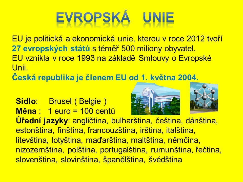 EVROPSKÁ UNIE EU je politická a ekonomická unie, kterou v roce 2012 tvoří 27 evropských států s téměř 500 miliony obyvatel.