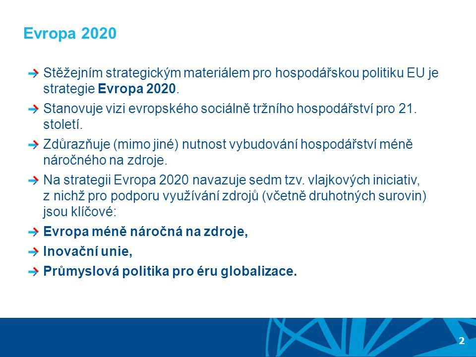Evropa 2020 Stěžejním strategickým materiálem pro hospodářskou politiku EU je strategie Evropa 2020.