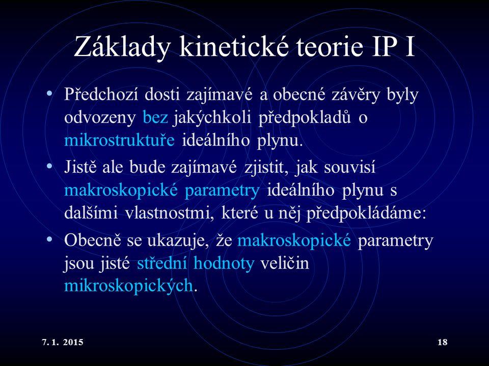 Základy kinetické teorie IP I