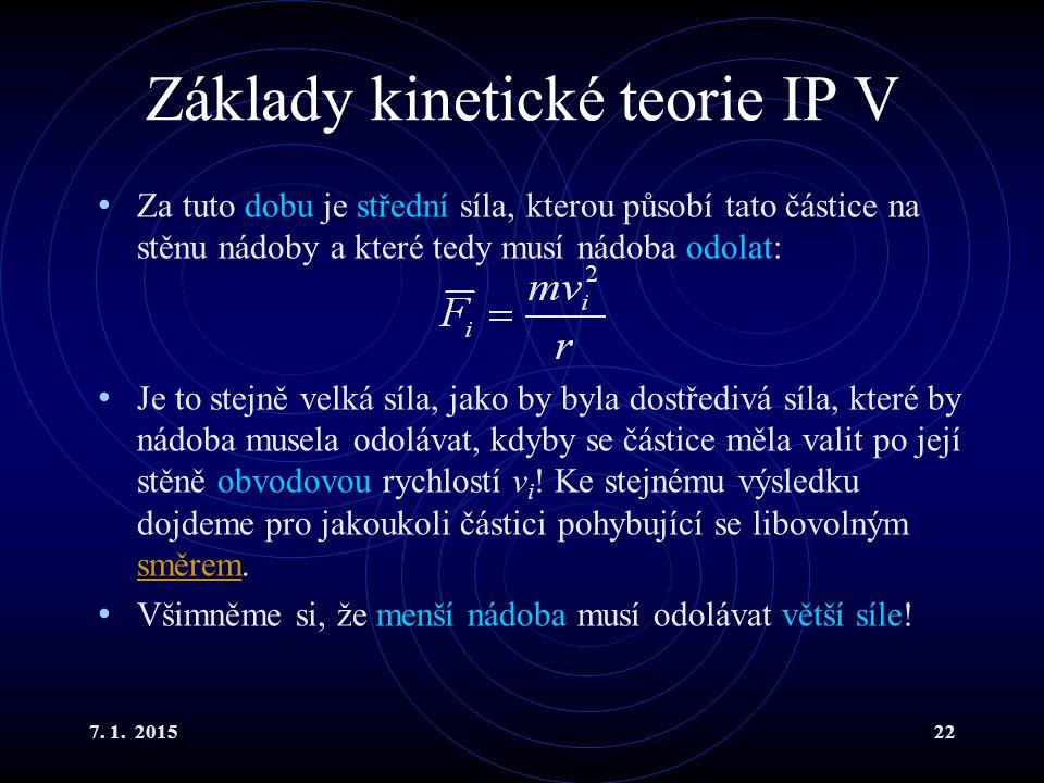 Základy kinetické teorie IP V