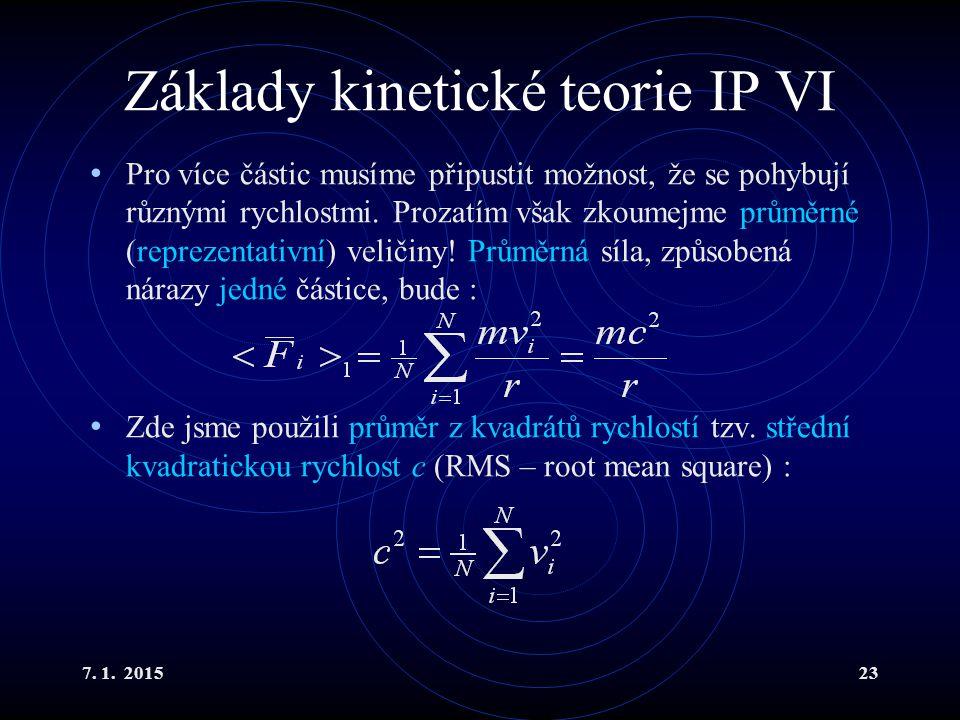 Základy kinetické teorie IP VI