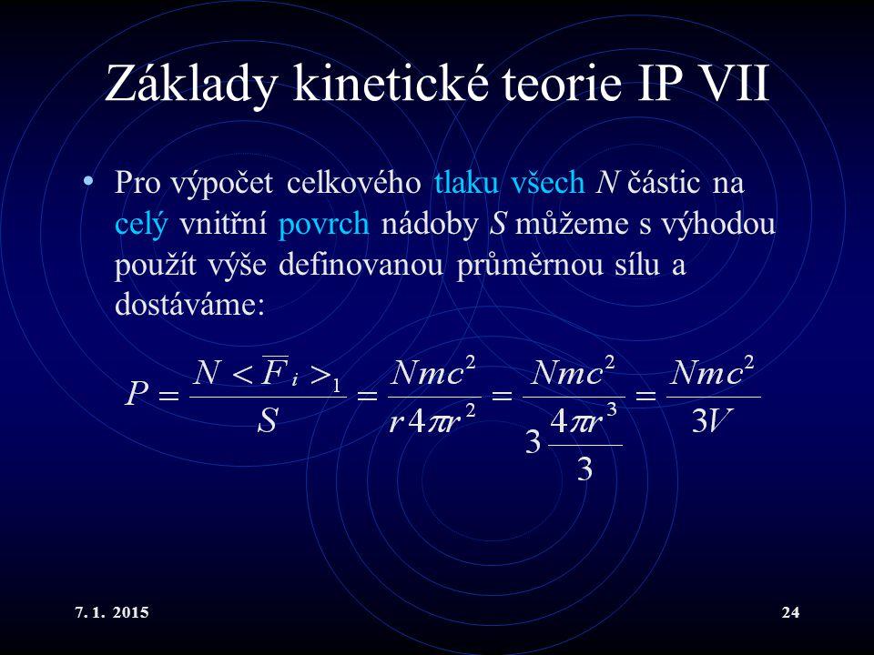 Základy kinetické teorie IP VII