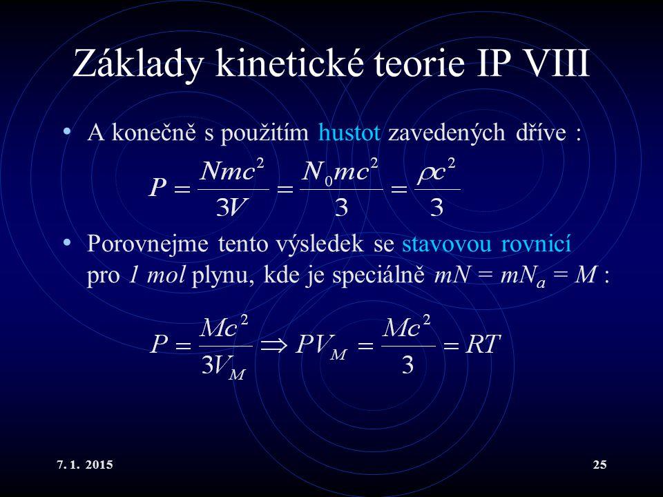 Základy kinetické teorie IP VIII