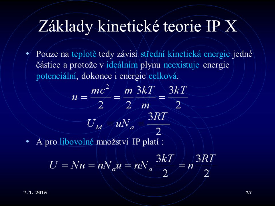 Základy kinetické teorie IP X