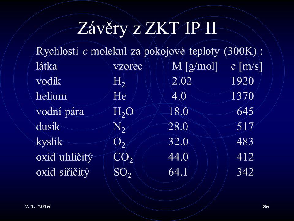 Závěry z ZKT IP II Rychlosti c molekul za pokojové teploty (300K) :