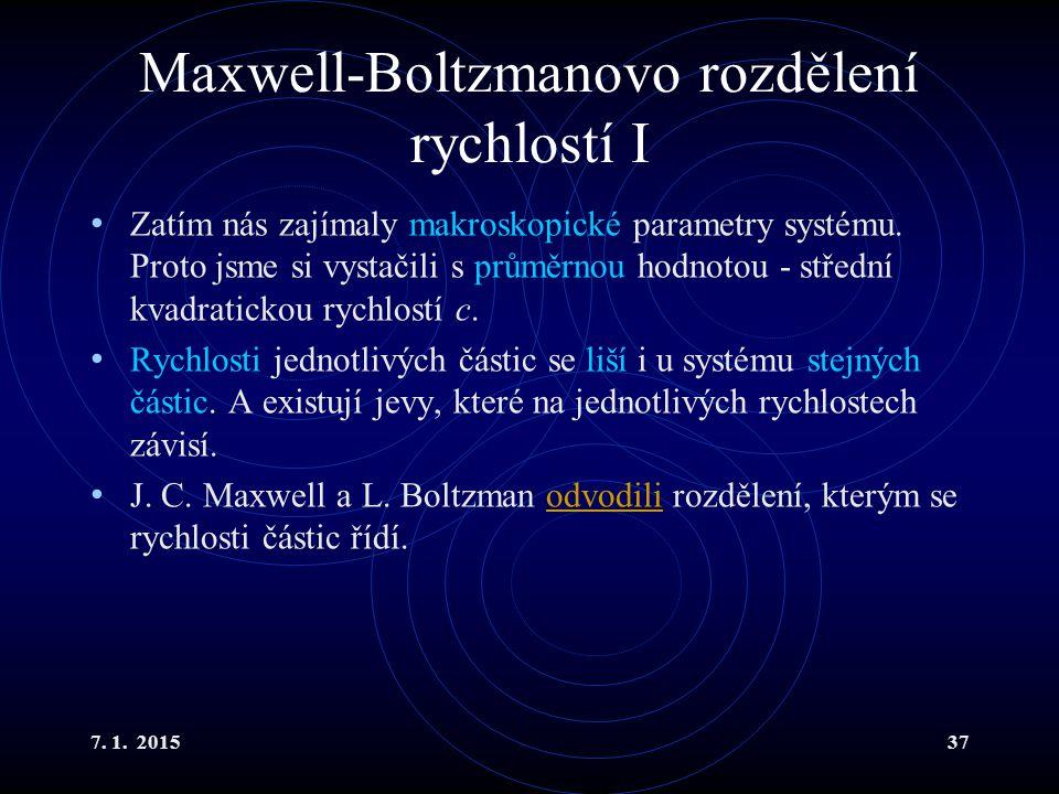 Maxwell-Boltzmanovo rozdělení rychlostí I