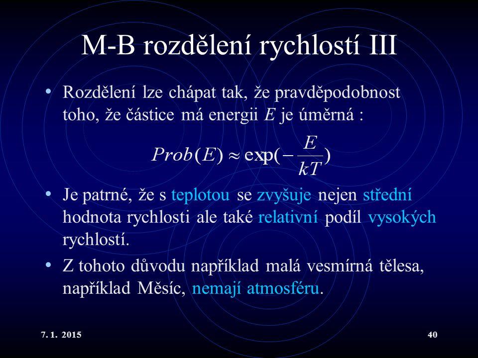 M-B rozdělení rychlostí III