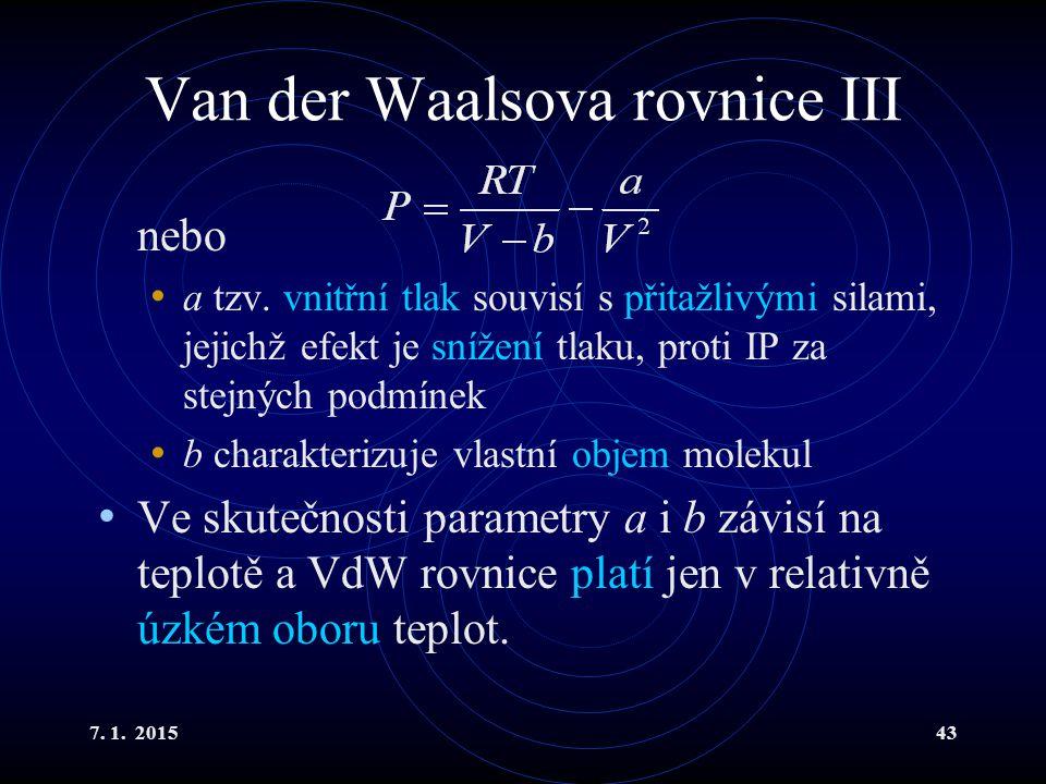 Van der Waalsova rovnice III