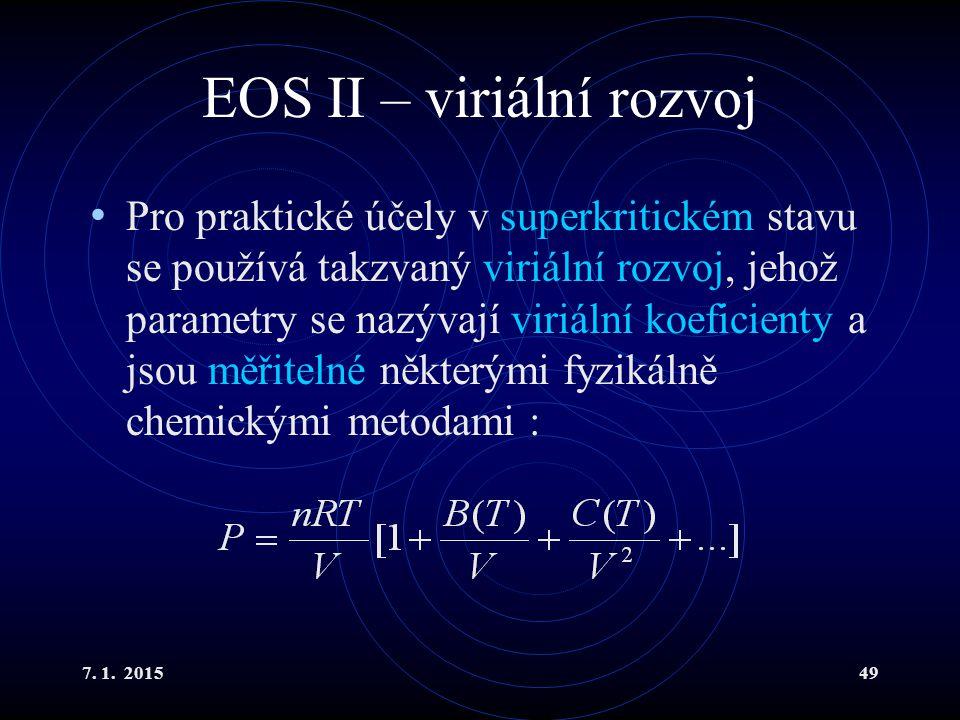 EOS II – viriální rozvoj