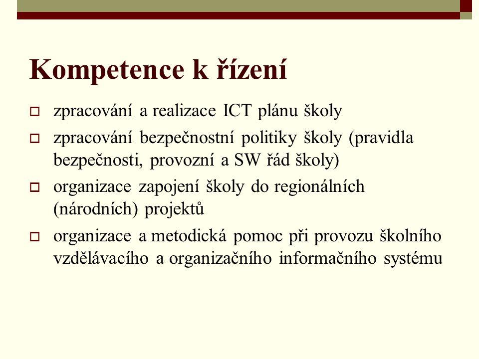 Kompetence k řízení zpracování a realizace ICT plánu školy