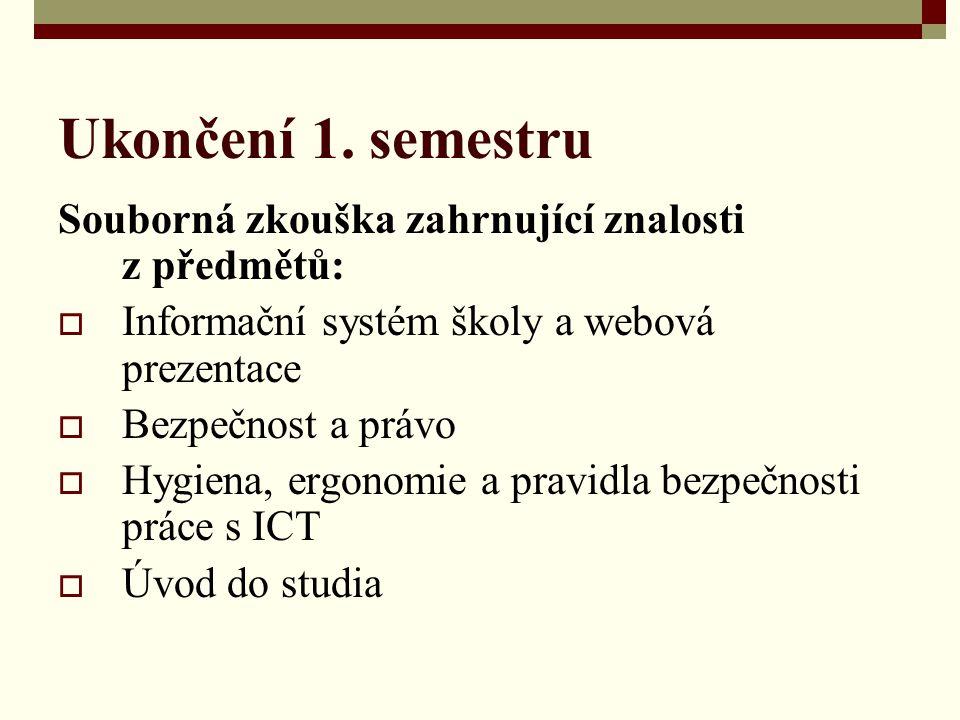 Ukončení 1. semestru Souborná zkouška zahrnující znalosti z předmětů: