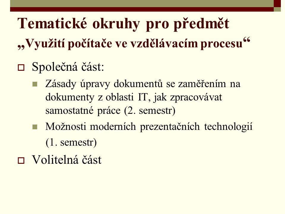 """Tematické okruhy pro předmět """"Využití počítače ve vzdělávacím procesu"""