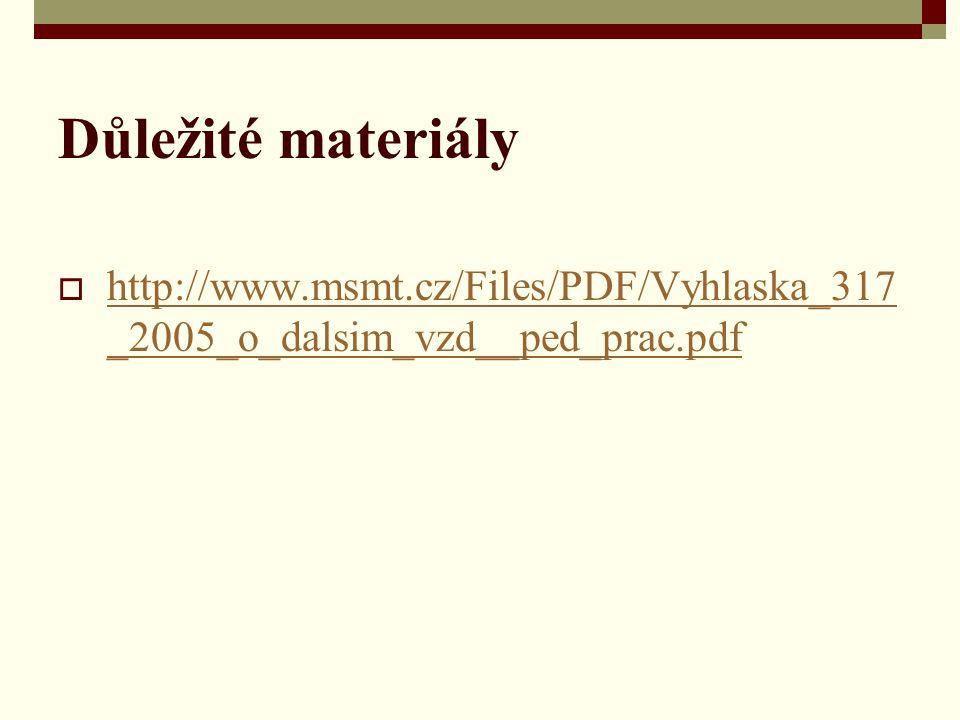 Důležité materiály http://www.msmt.cz/Files/PDF/Vyhlaska_317_2005_o_dalsim_vzd__ped_prac.pdf