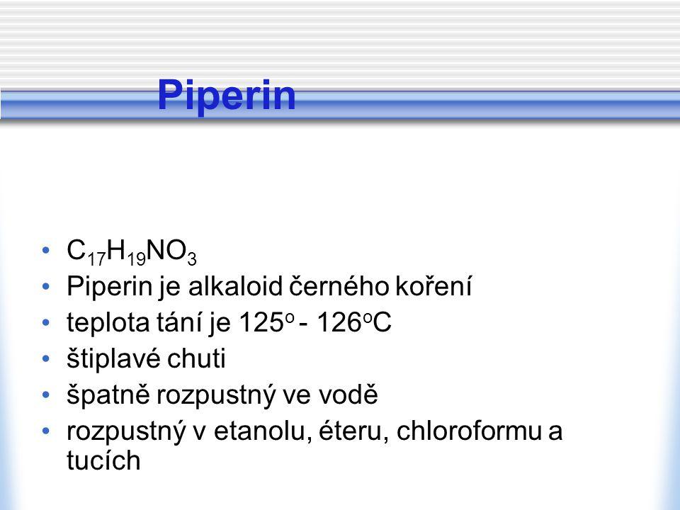 Piperin C17H19NO3 Piperin je alkaloid černého koření